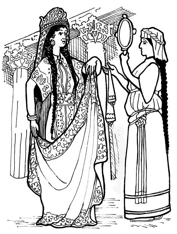 Queen Esther, : Queen Esther in Purim Celebration Coloring Page