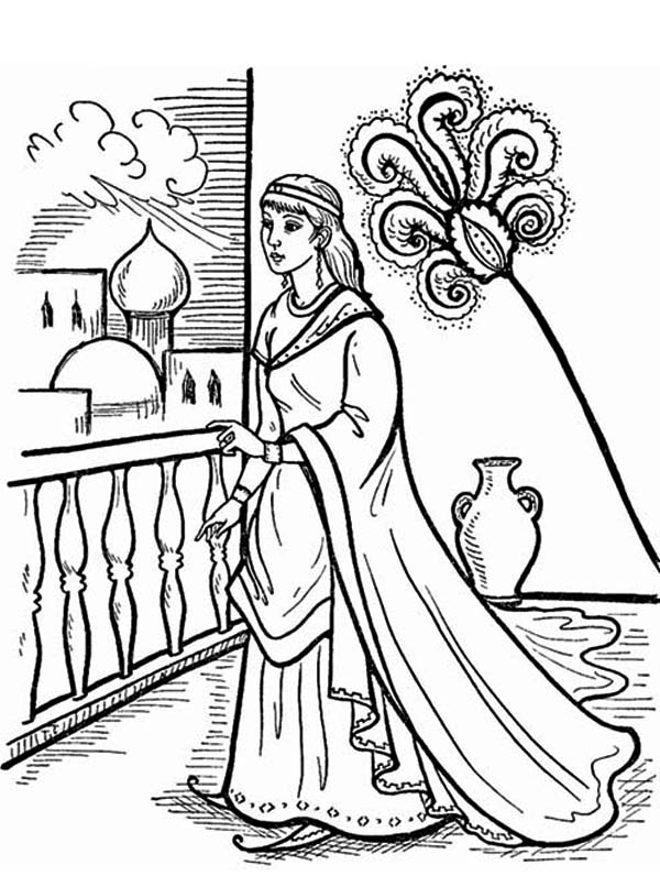 Queen Esther, : Queen Esther in the Palace Coloring Page
