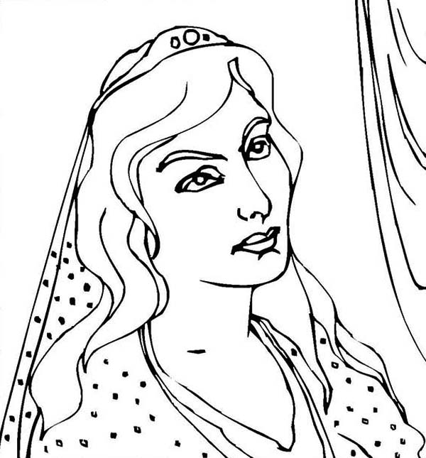 Queen Esther, : Queen Esther is Thinking  Coloring Page