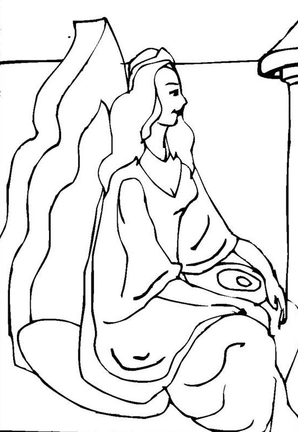 Queen Esther, : Queen Esther on Her Throne Coloring Page