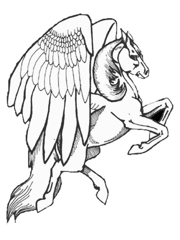 Pegasus, : Realistic Drawing of Pegasus Coloring Page