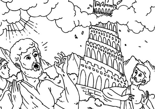 Tower of Babel, : Scared People in Daylight in Tower of Babel Coloring Page