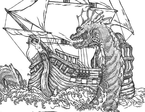 Sea Monster, : Sea Monster Attacking Sailor Coloring Page