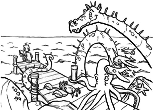 Sea Monster, : Sea Monster and Fisherman Coloring Page
