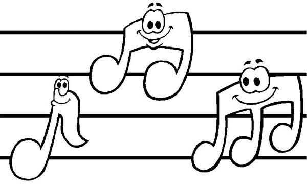 Music Notes, : Sheet Music with Music Notes Coloring Page