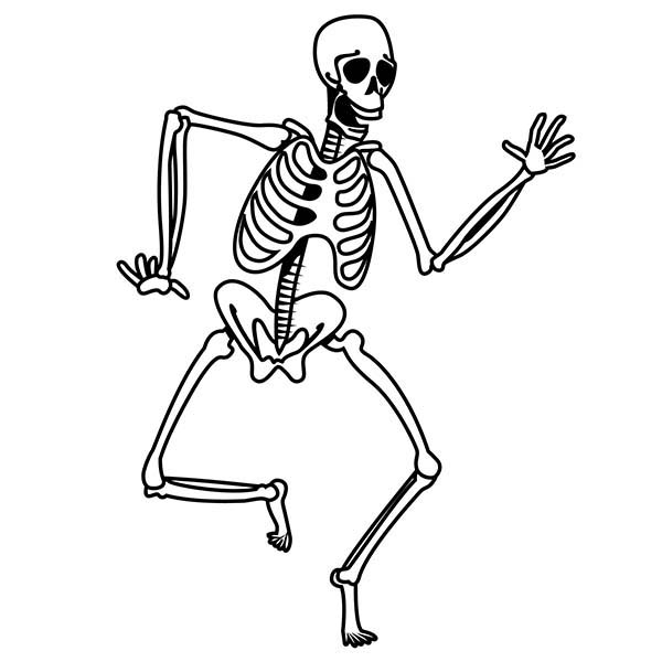 Skeleton, : Shuffling Skeleton Coloring Page