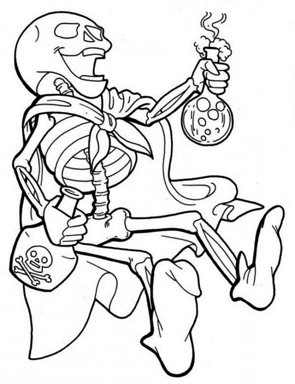 Skeleton, : Skeleton and Strong Poison Coloring Page