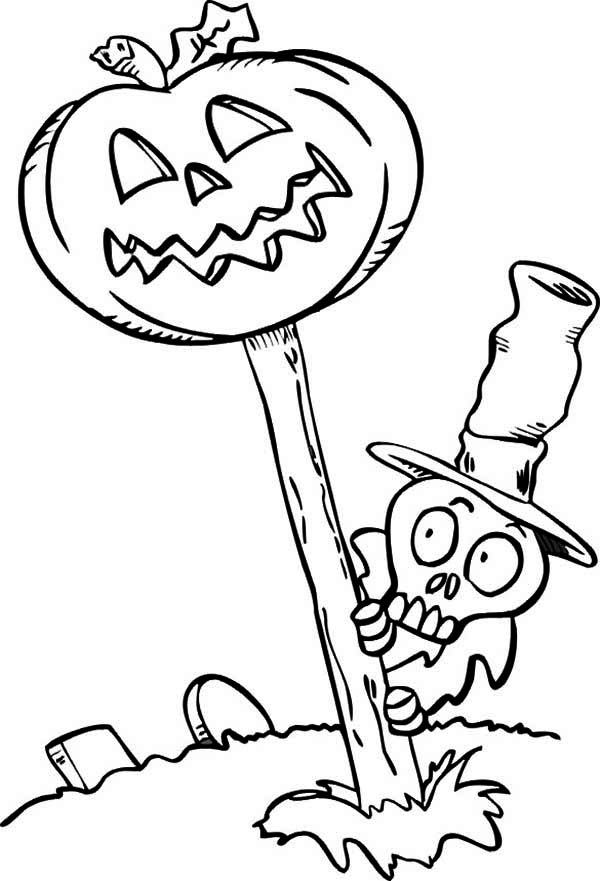 Skeleton, : Skeleton is Afraid of Pumpkin Coloring Page
