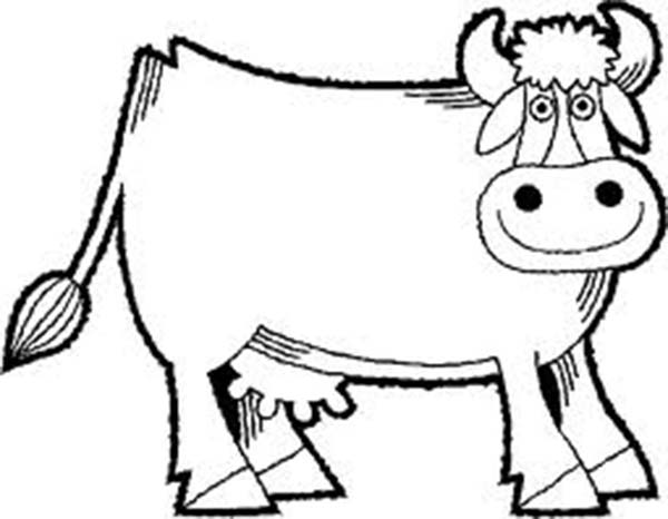 Cow, : Smiling Milch Cow Coloring Page