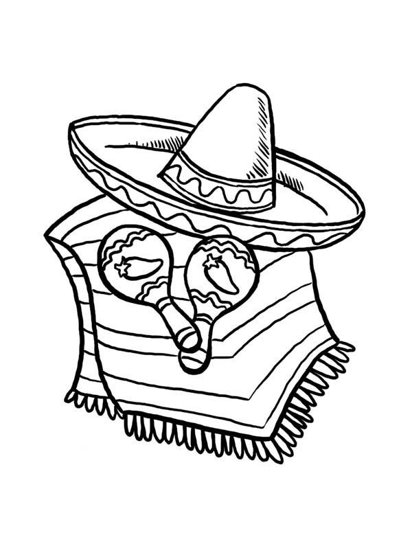 Mexican Fiesta, : Sombrero and Caracas for Cinco de Mayo at at Mexican Fiesta Coloring Page