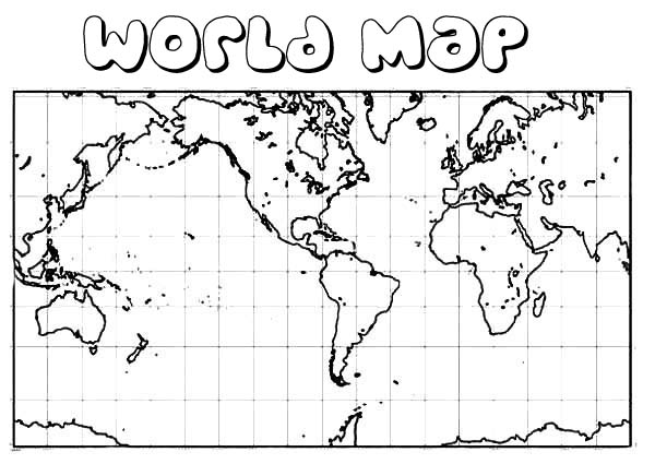 square world map coloring page kids play color