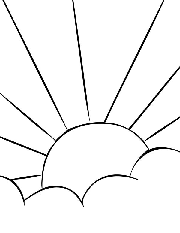 Clouds, : Sunrise Behind Clouds Coloring Page