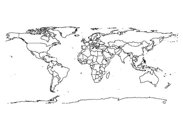 World Map, : Teacher's World Map Coloring Page