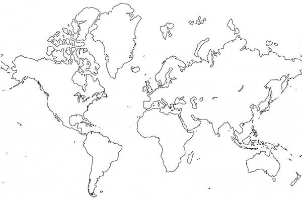 World Map, : The Best World Map Coloring Page