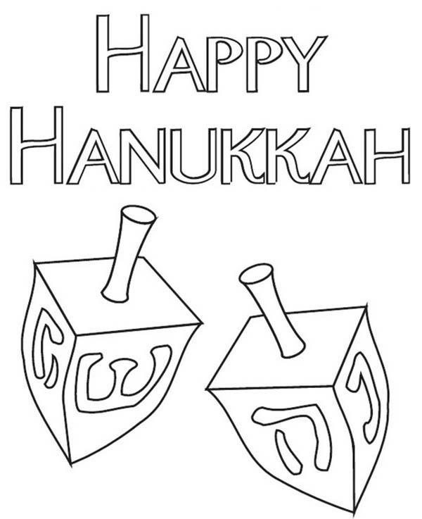 Chanukah, : The Chanukah Dreidels Coloring Page