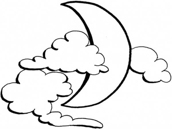 Clouds, : The Moon and The Clouds Coloring Page