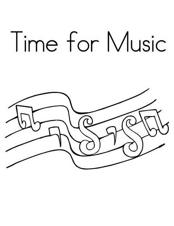 Music Notes, : Time for Music in Music Notes Coloring Page