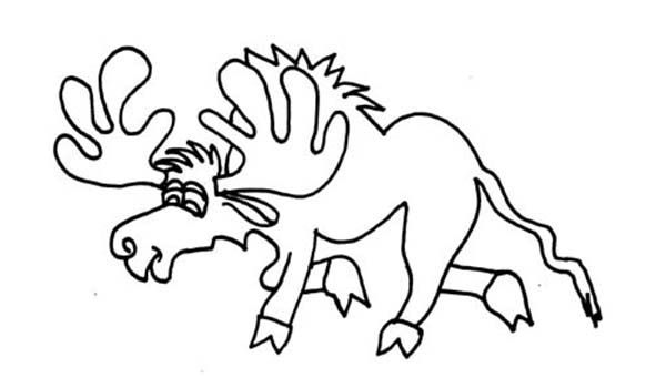Moose, : Tired Moose Coloring Page