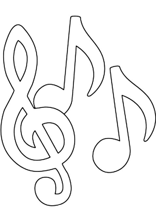 Music Notes, : Triple Music Notes Coloring Page