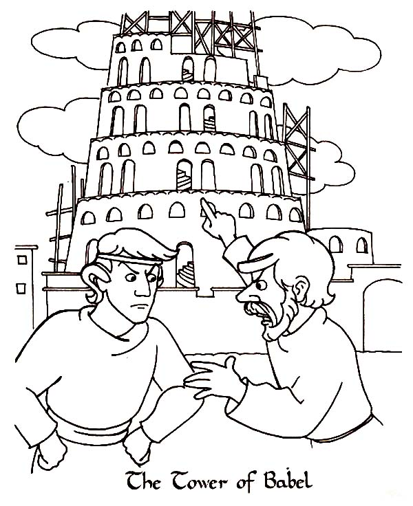 ... Man Argue in Front of Tower of Babel Coloring Page | Kids Play Color Zebra Pictures For Kids To Color