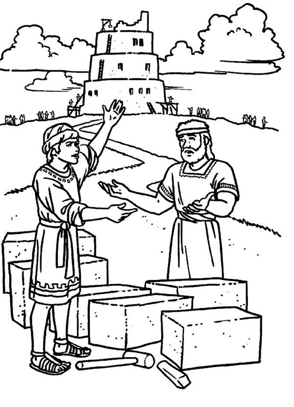 Tower of Babel, : Two Man Tower of Babel Coloring Page