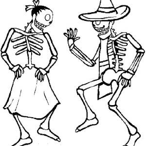 two skull doing zapateado mexican dance at mexican fiesta coloring page