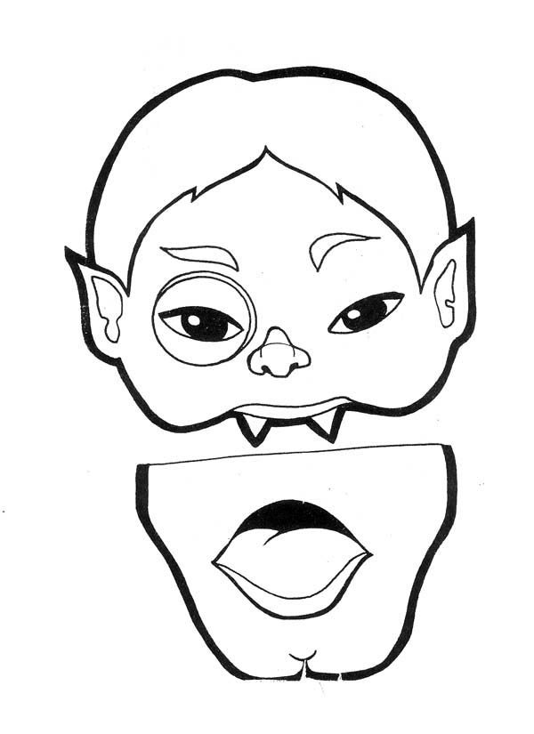 Funschool Halloween, : Weird Vampire in Funschool Halloween Coloring Page