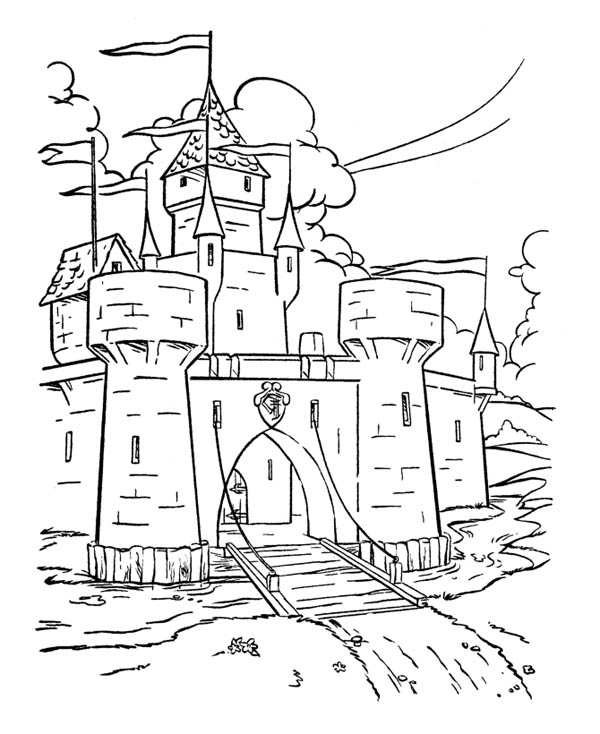 Medieval Castle, : Wonderful Drawing Medieval Castle Coloring Page