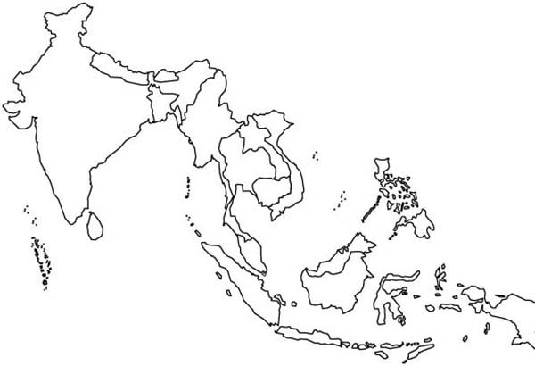 World Map, : World Map of Asian Contries Coloring Page