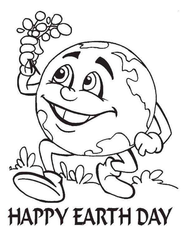 Earth Day, : A Healthier Earth to All on Earth Day Coloring Page