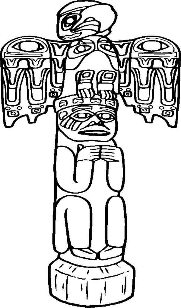 Totem Poles, : Awesome Carved Totem Poles Coloring Page