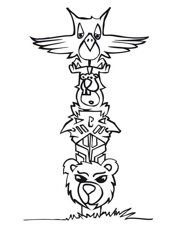 Totem Poles, : Cartoon of Animal Totem Poles Coloring Page