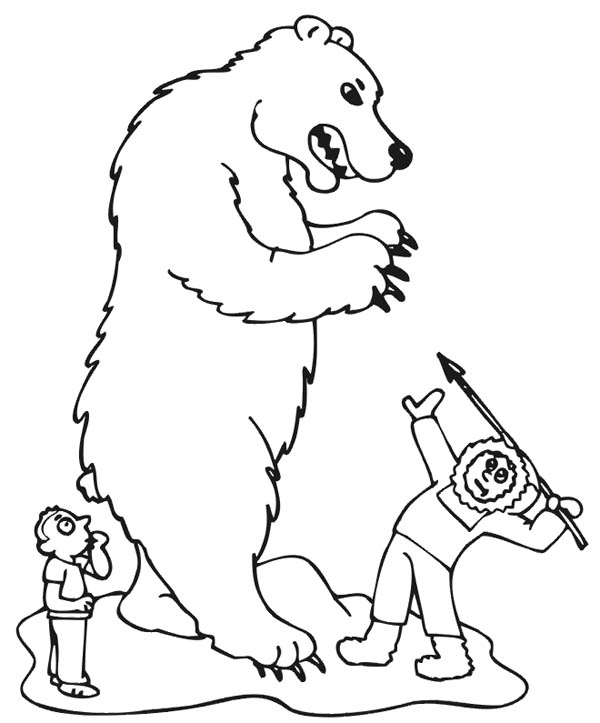 Polar Bear, : Eskimo Hunter Killing Polar Bear Coloring Page