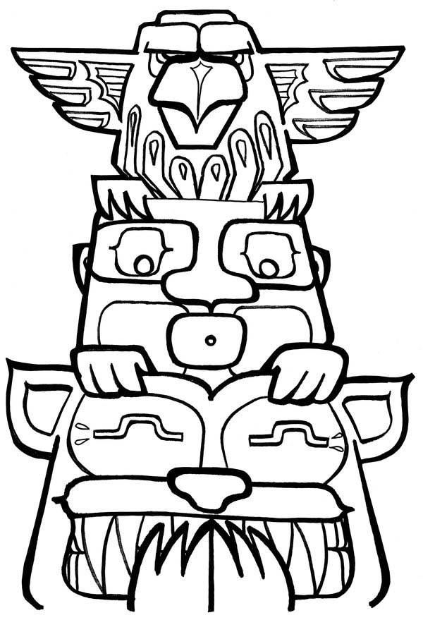 Totem Poles, : Funny Totem Poles Coloring Page
