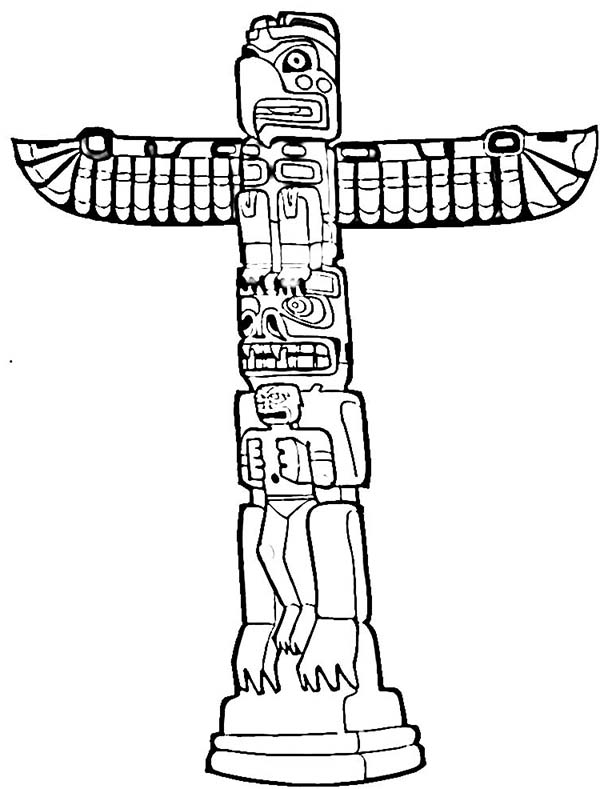 Totem Poles, : History of Totem Poles Coloring Page
