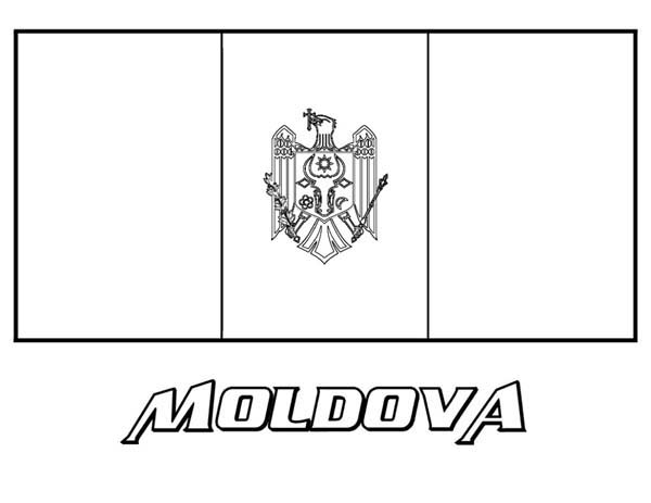 Nation Flag, : Nation Flag of Moldova Coloring Page