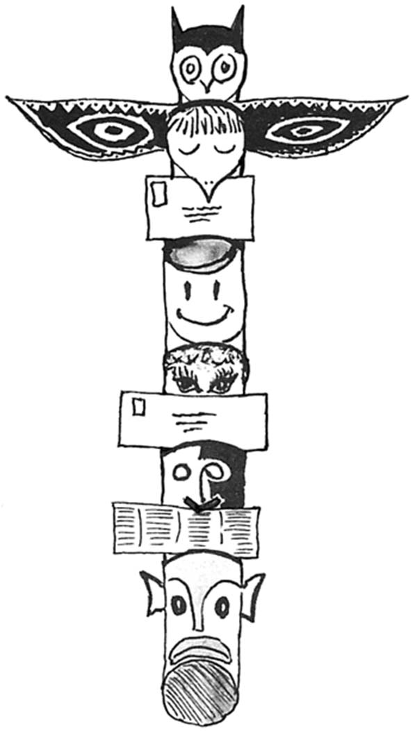 Totem Poles, : Picture of Totem Poles Coloring Page