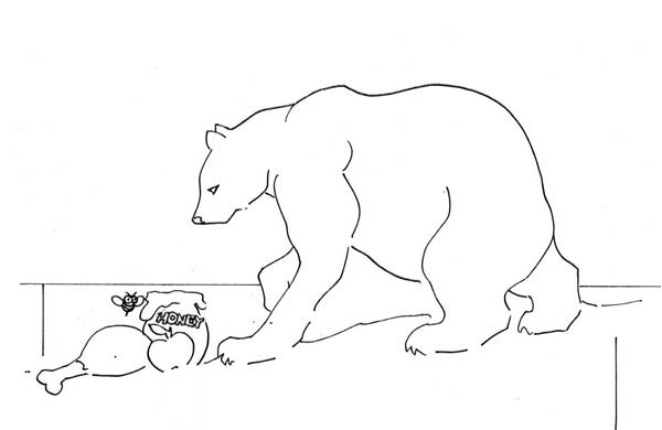 Polar Bear, : Polar Bear Find Food Coloring Page