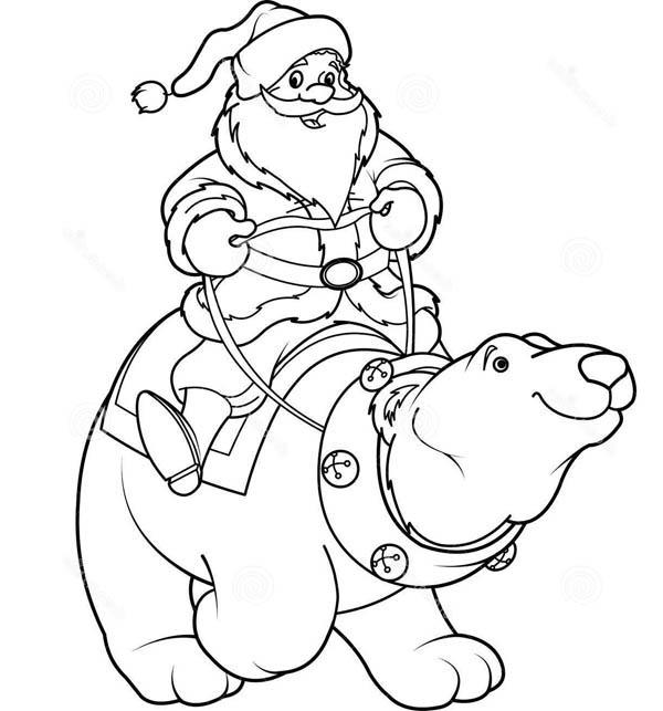 Polar Bear, : Santa Claus Riding Polar Bear Coloring Page