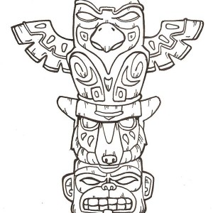 terrifying totem poles coloring page