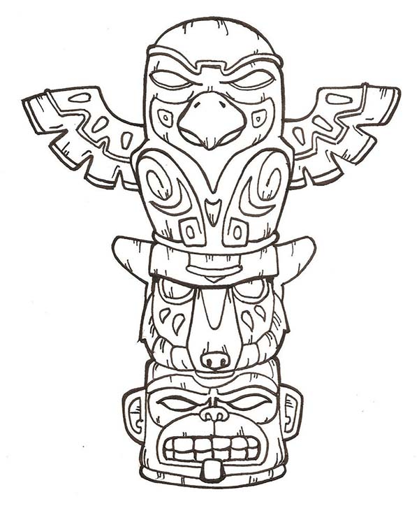 Totem Poles, : Terrifying Totem Poles Coloring Page