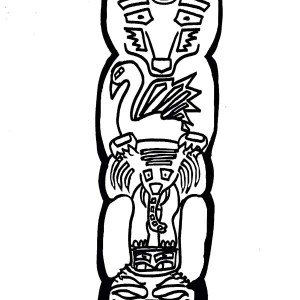 totem poles animal coloring page