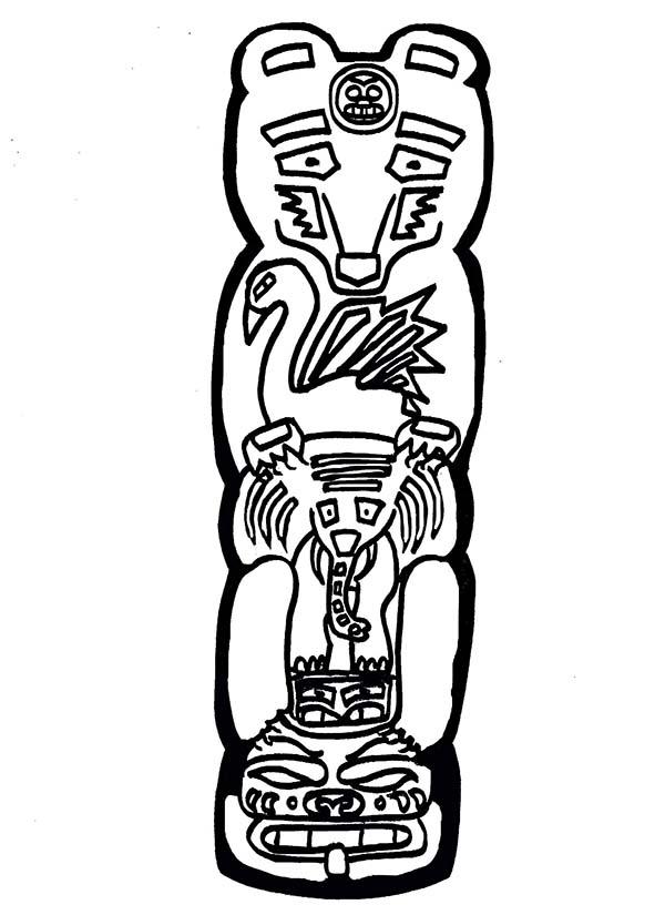 Totem Poles, : Totem Poles Animal Coloring Page