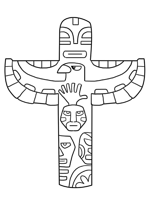 Totem Poles, : Totem Poles Coloring Page for Kids