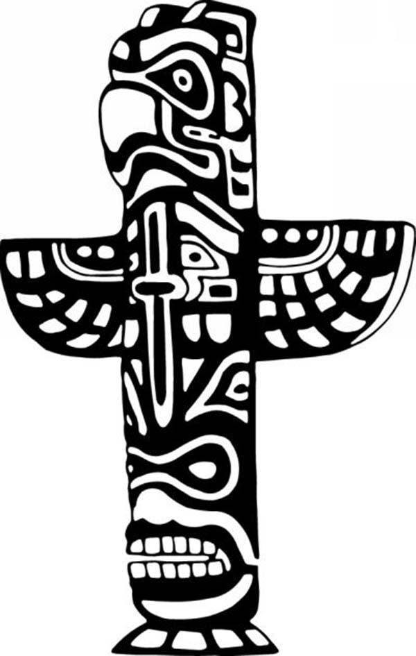 Totem Poles, : Totem Poles Tribal Nation Symbols Coloring Page