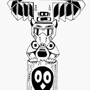 totem poles vector coloring page