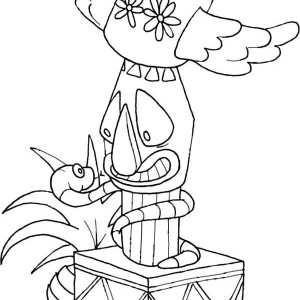 totem poles wrapped by snake coloring page
