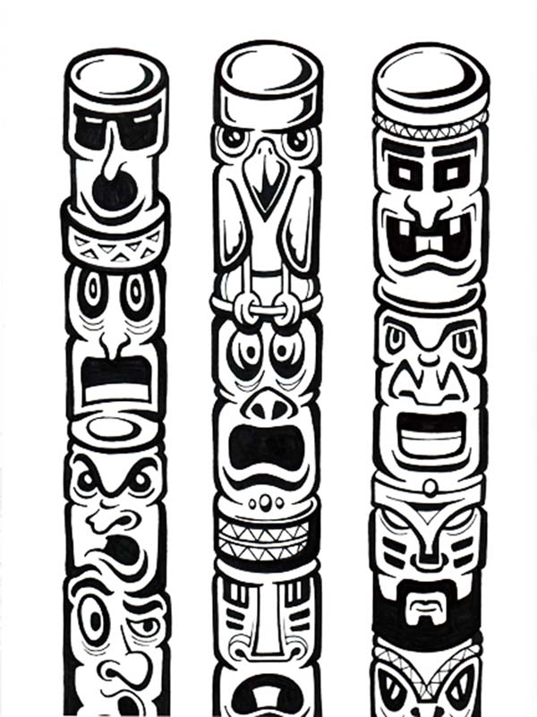Totem Poles, : Tribe History in Totem Poles Coloring Page