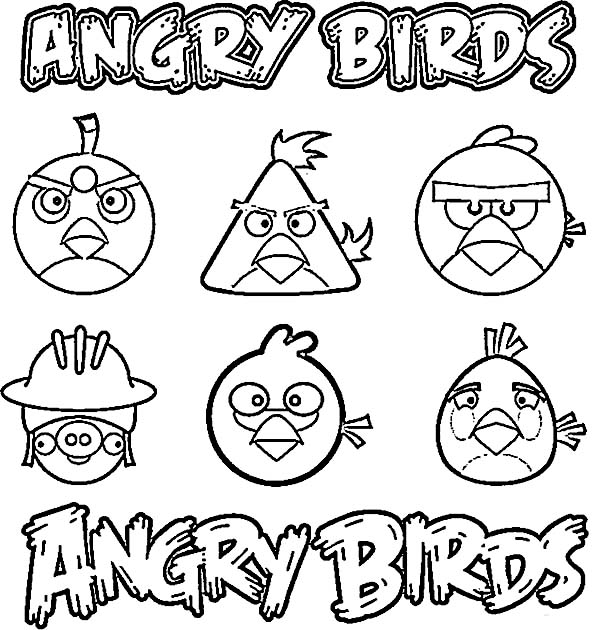 Angry Birds, : Angry Bird Characters Coloring Page