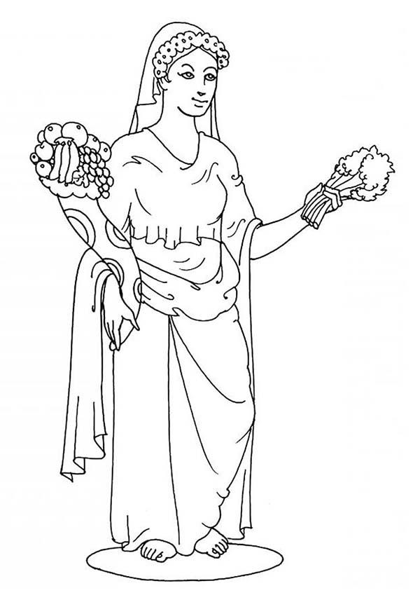 Aphrodite, : Aphrodite Greek Goddess Coloring Page
